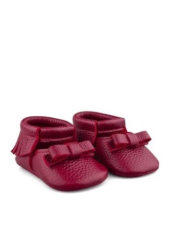 Cicibebe Deri Kız Çocuk Makosen Kırmızı
